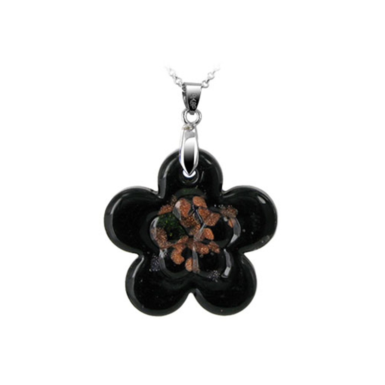 Flower Black Glass Stainless Steel Pendant