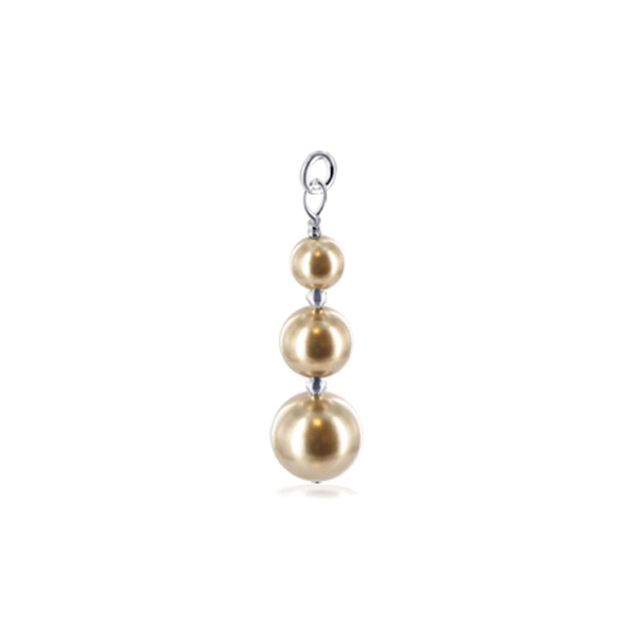 Round Brown Simulated Pearl 925 Sterling Silver Charm Pendant