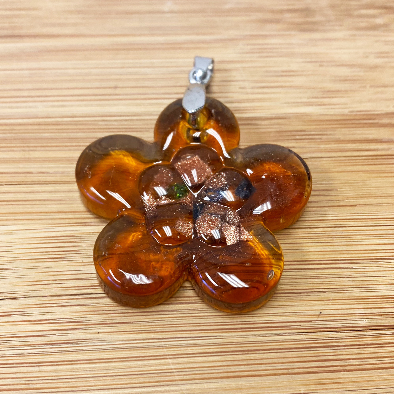 Flower Brown Glass Stainless Steel Pendant