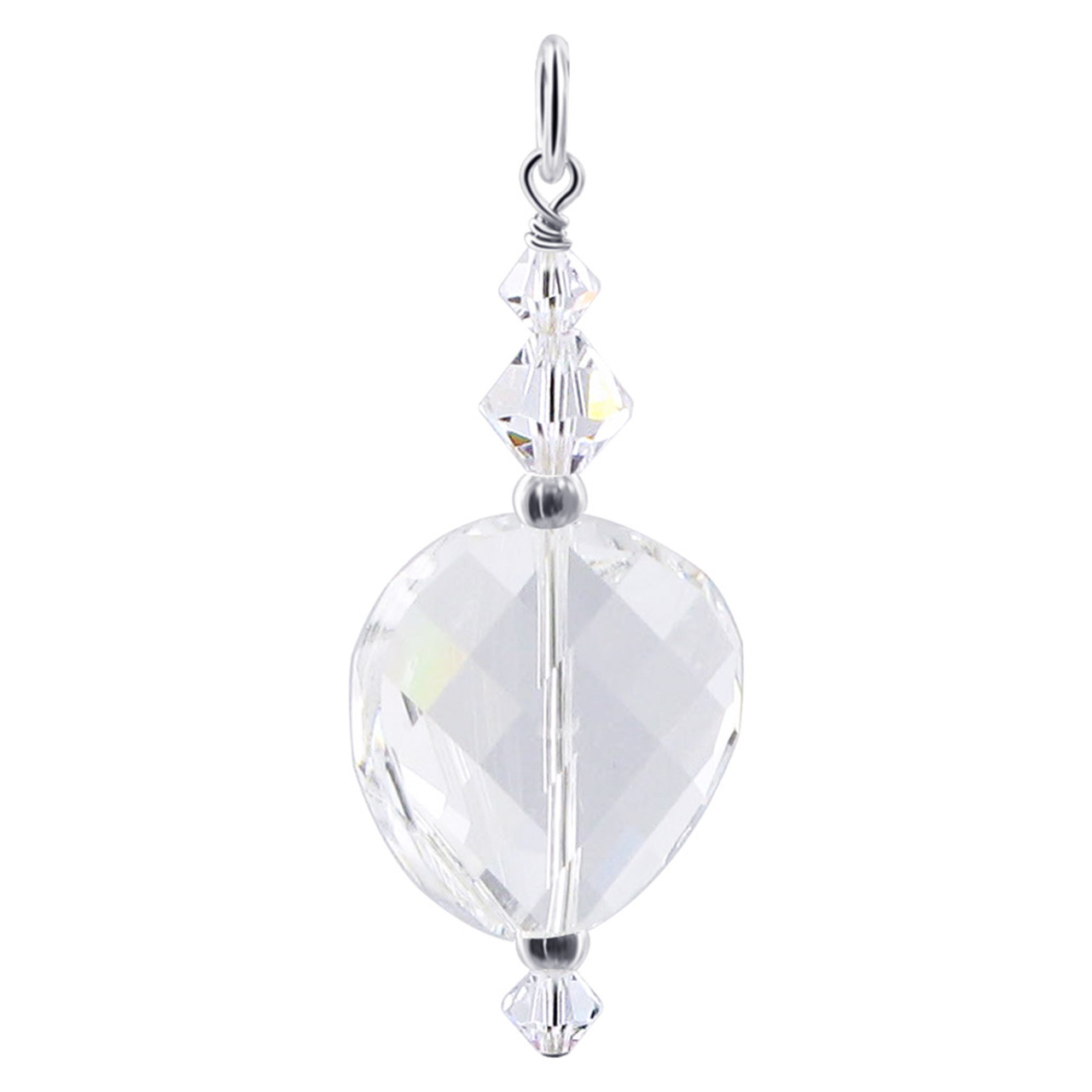 Multifaceted Clear Crystal 925 Silver Charm Pendant