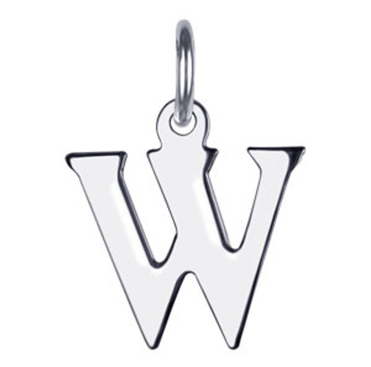 Sterling Silver Initial W Charm Pendant