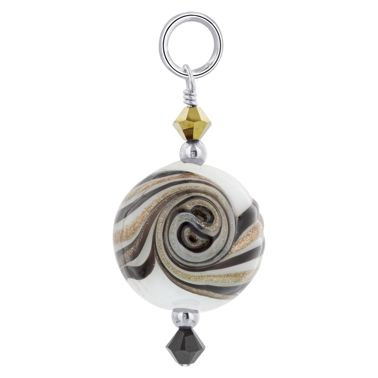 Lampwork Glass with Crystal 925 Silver Charm Pendant