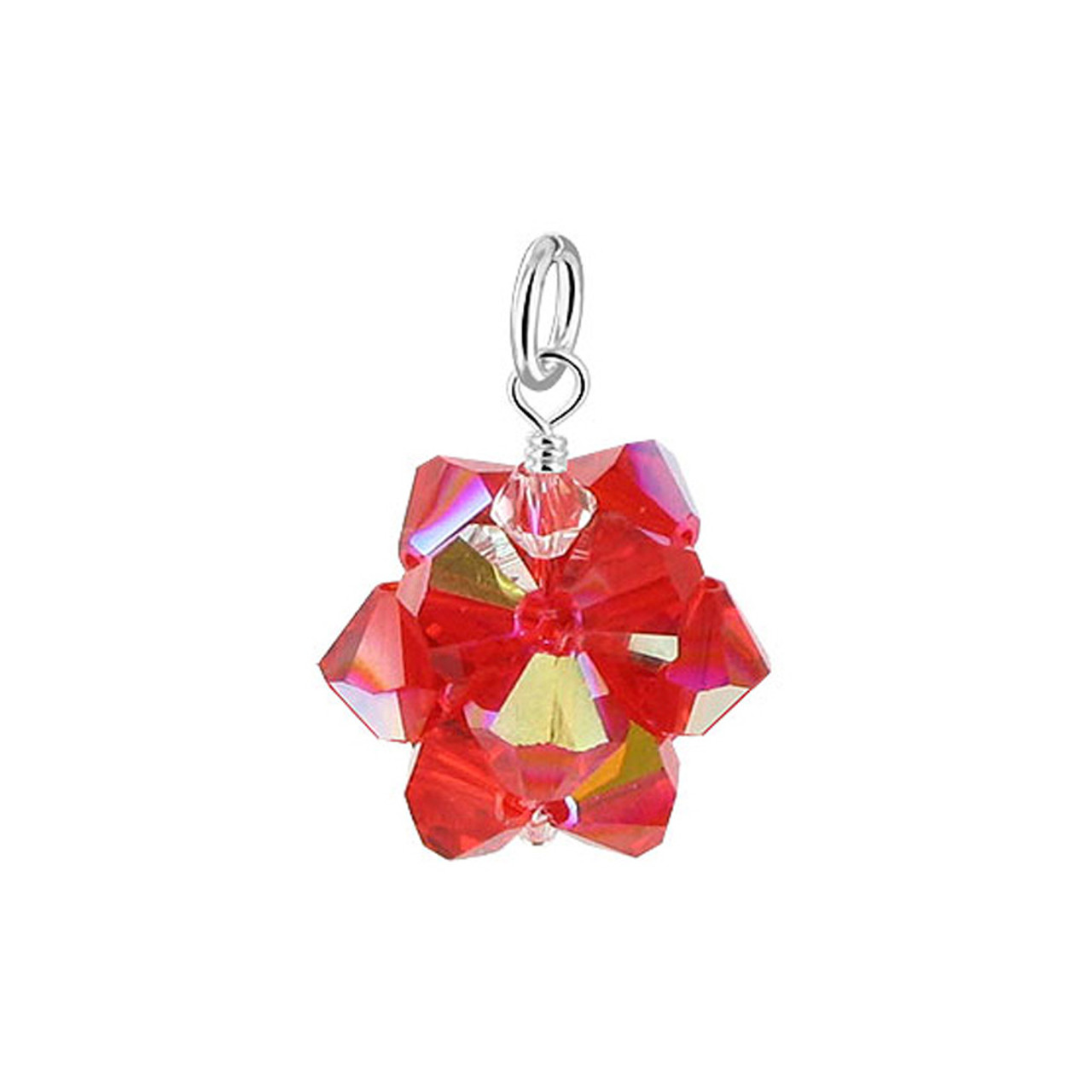 Red AB Bicone Ball Shape Crystal 925 Silver Pendant