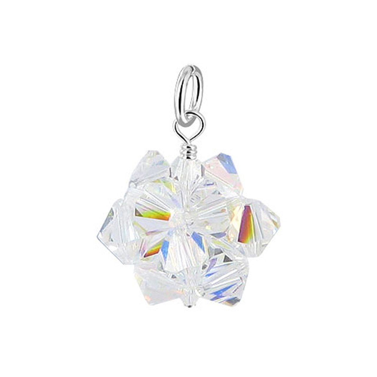 Clear AB Bicone Ball Shape Crystal 925 Silver Pendant