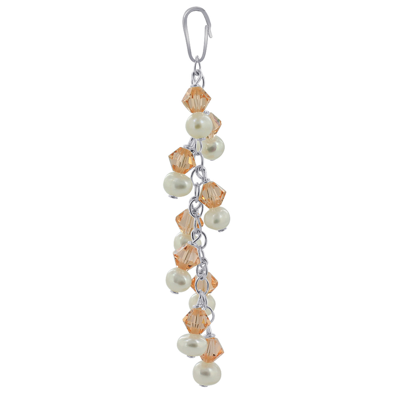 White Freshwater Pearls with Orange Bicone Sterling Silver Pendant