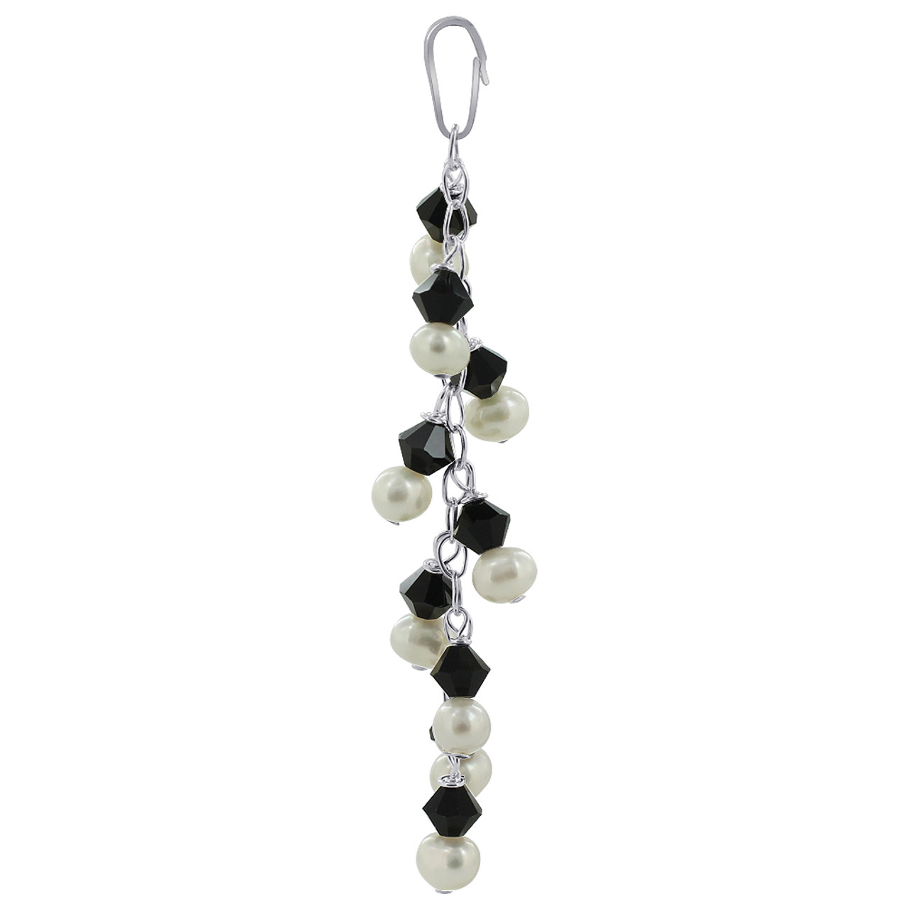 White Freshwater Pearls with Black Bicone Sterling Silver Pendant