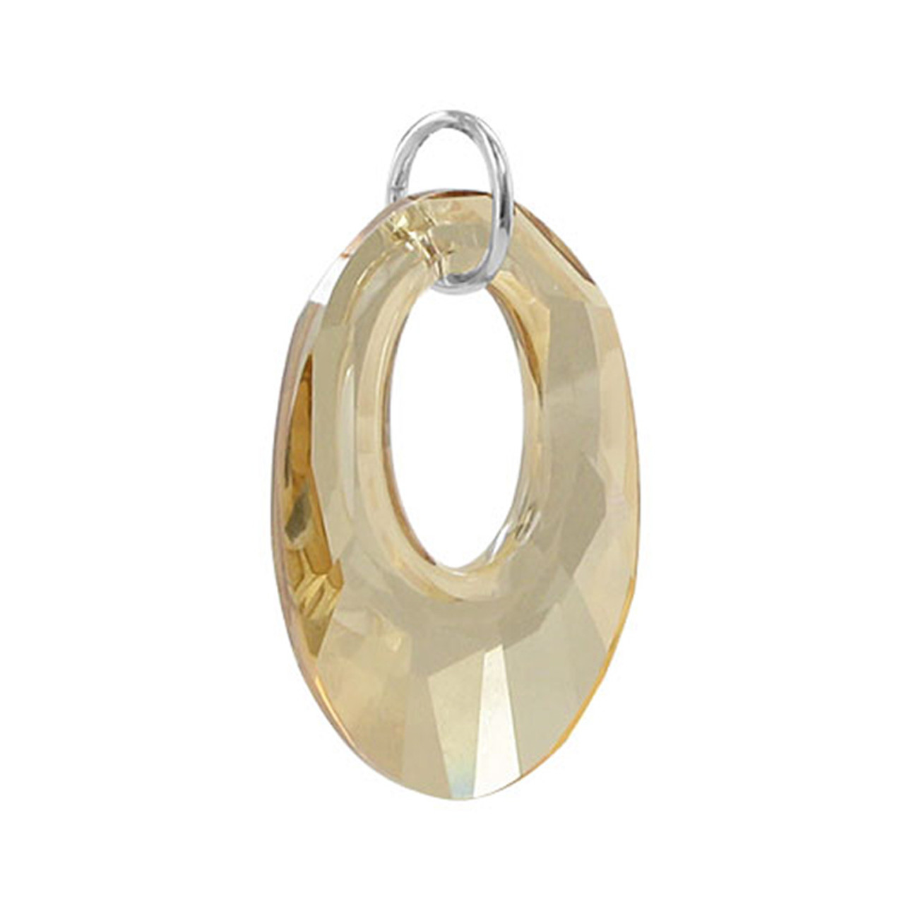 Oval Yellow Crystal 925 Silver Pendant