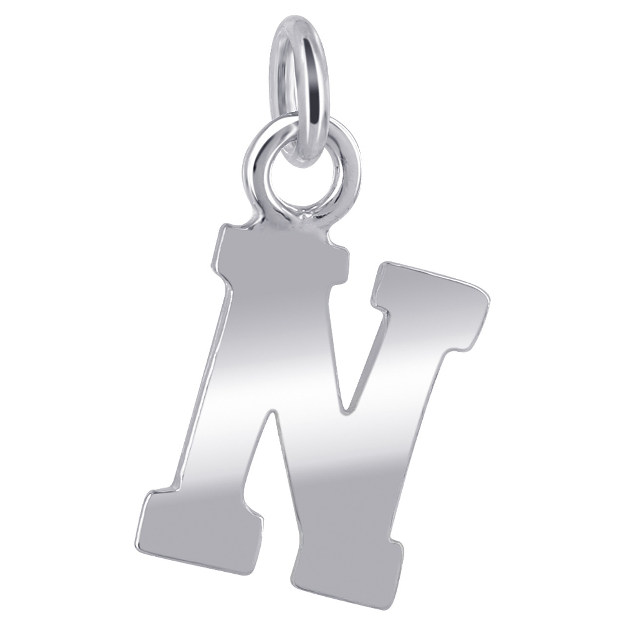 N Initial Sterling Silver Pendant Charm