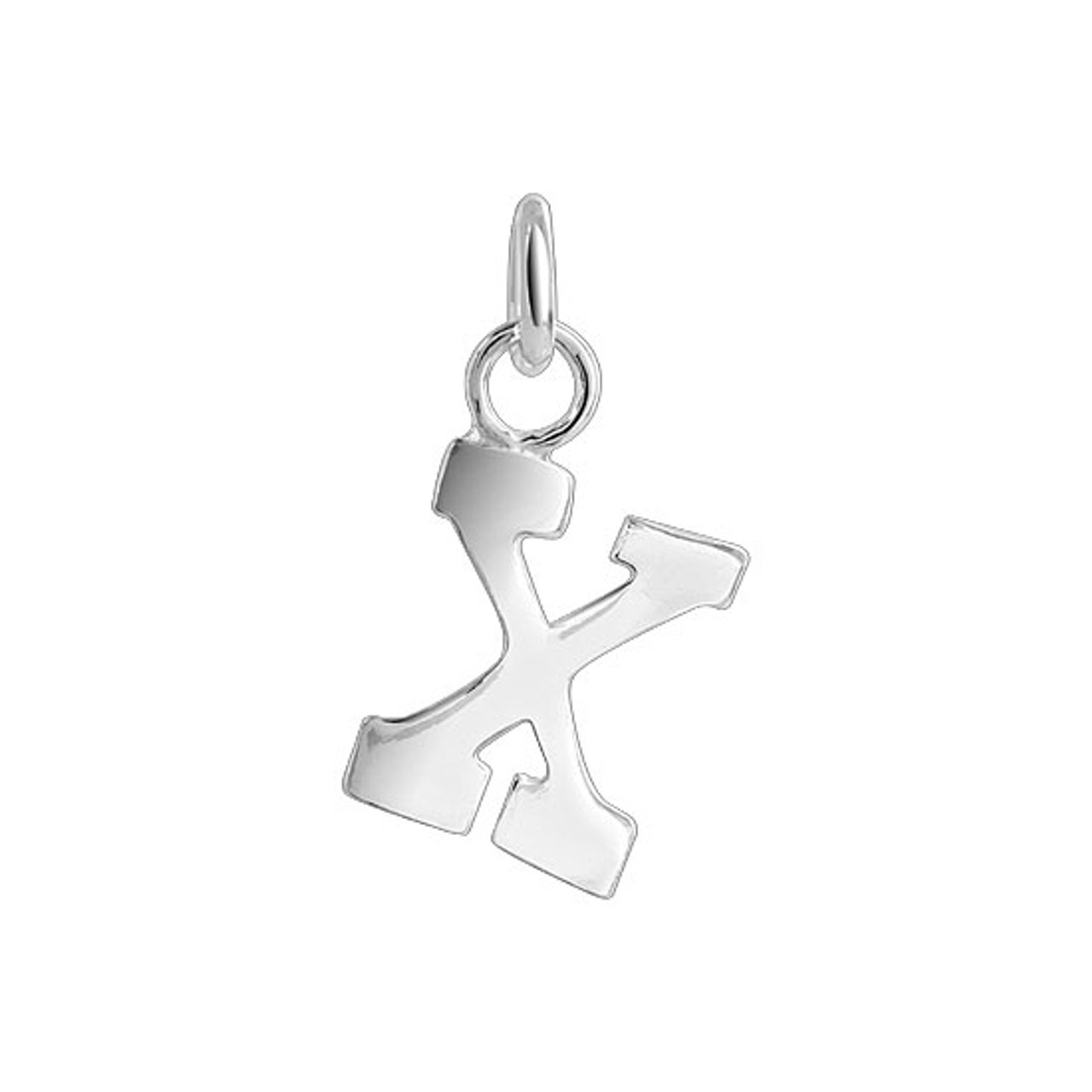 X Initial Sterling Silver Pendant Charm