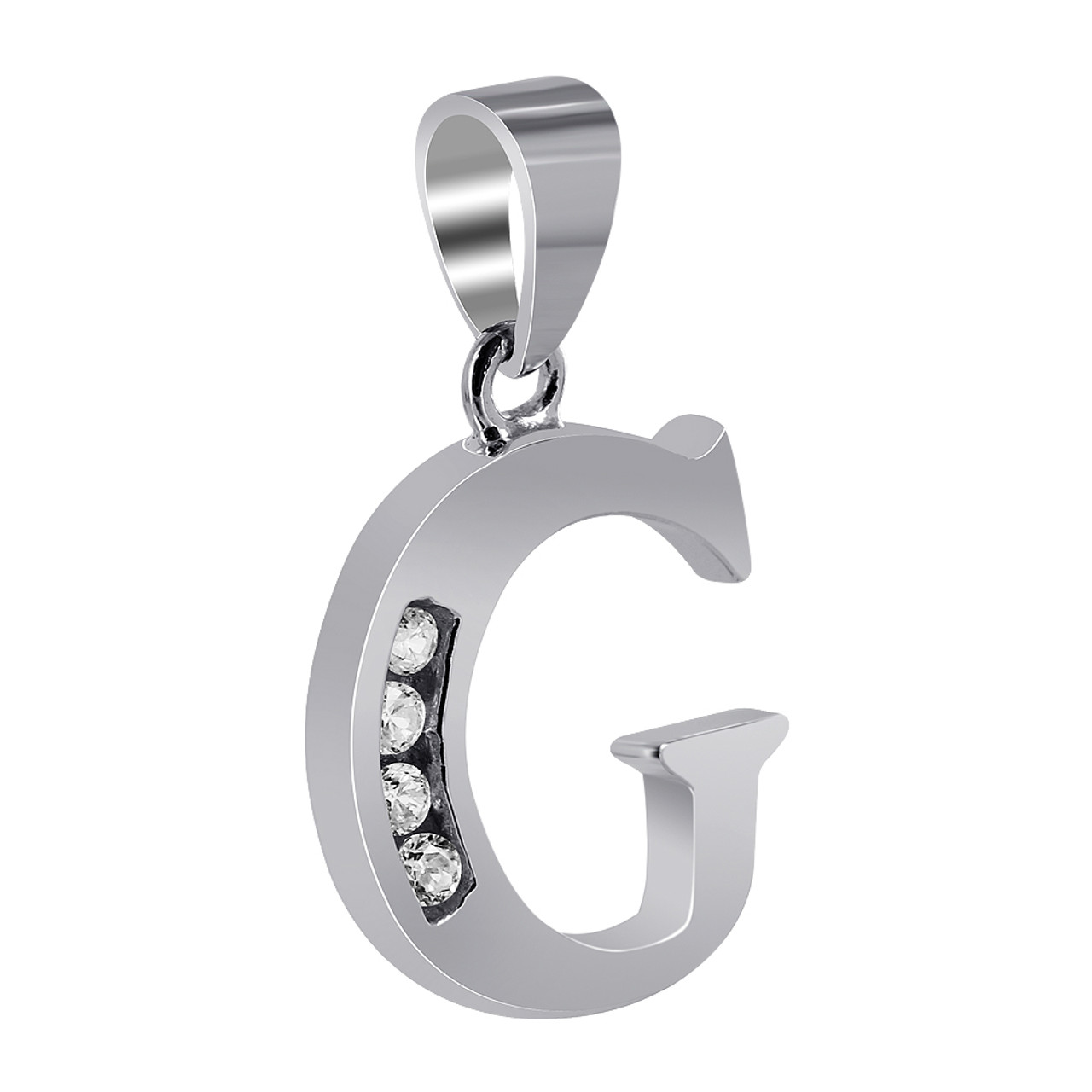 CZ Cubic Zirconia G Initial Sterling Silver Rhodium Plated Pendant