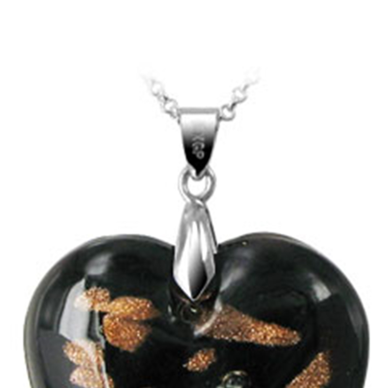 1.3 x 1.2 inch Black Color Floral Designed 6mm Thick Heart Glass Stainless Steel Bail Pendant