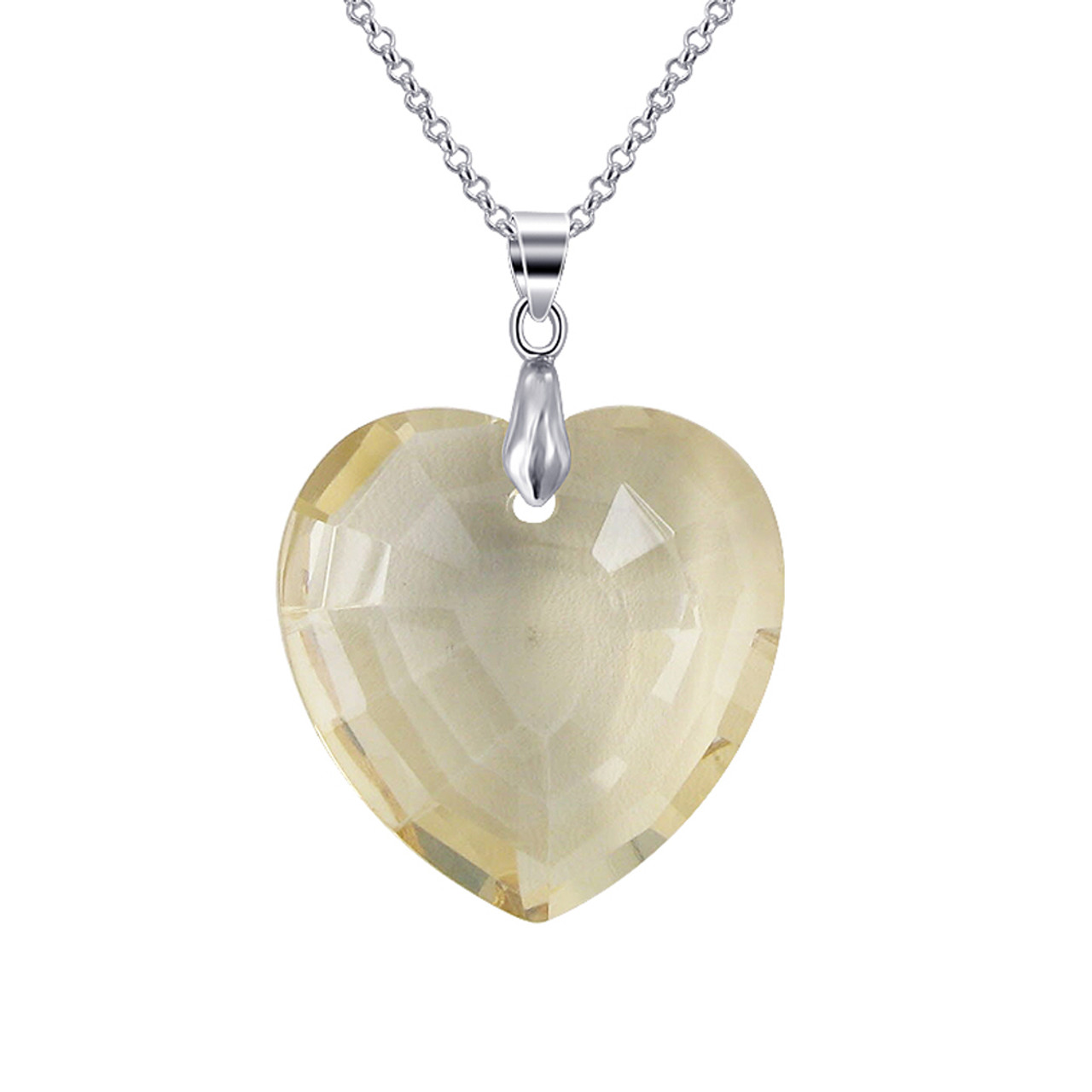 Golden Shadow Heart Glass Stainless Steel Pendant