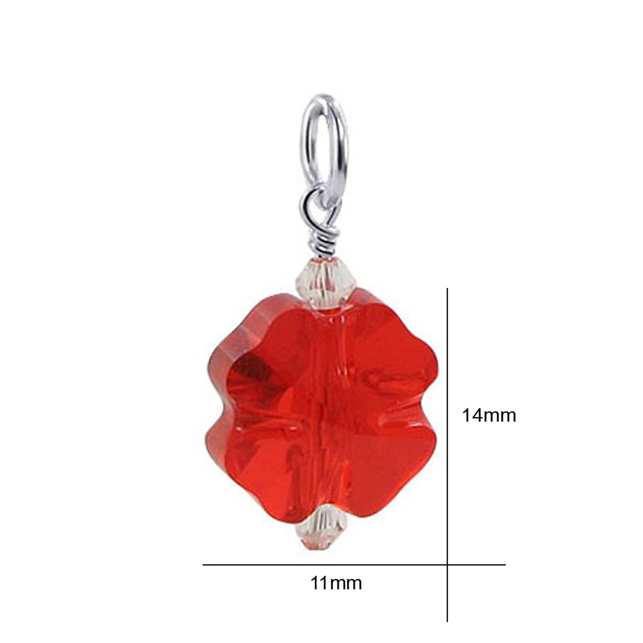 Flower Shape Siam Red Crystal 925 Sterling Silver Pendant