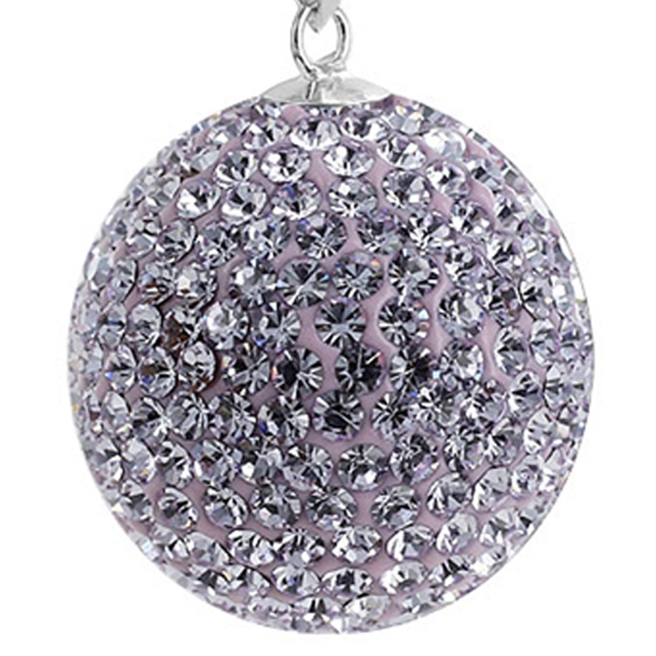 Round Violet Disco Ball Sterling Silver Pendant