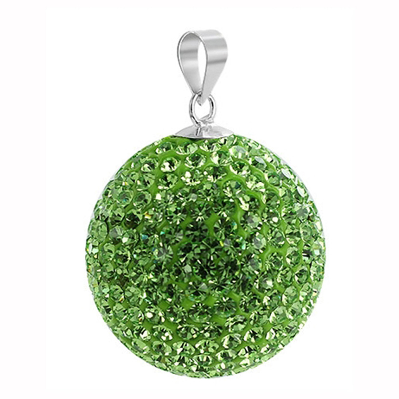 Round Green Disco Ball Sterling Silver Pendant
