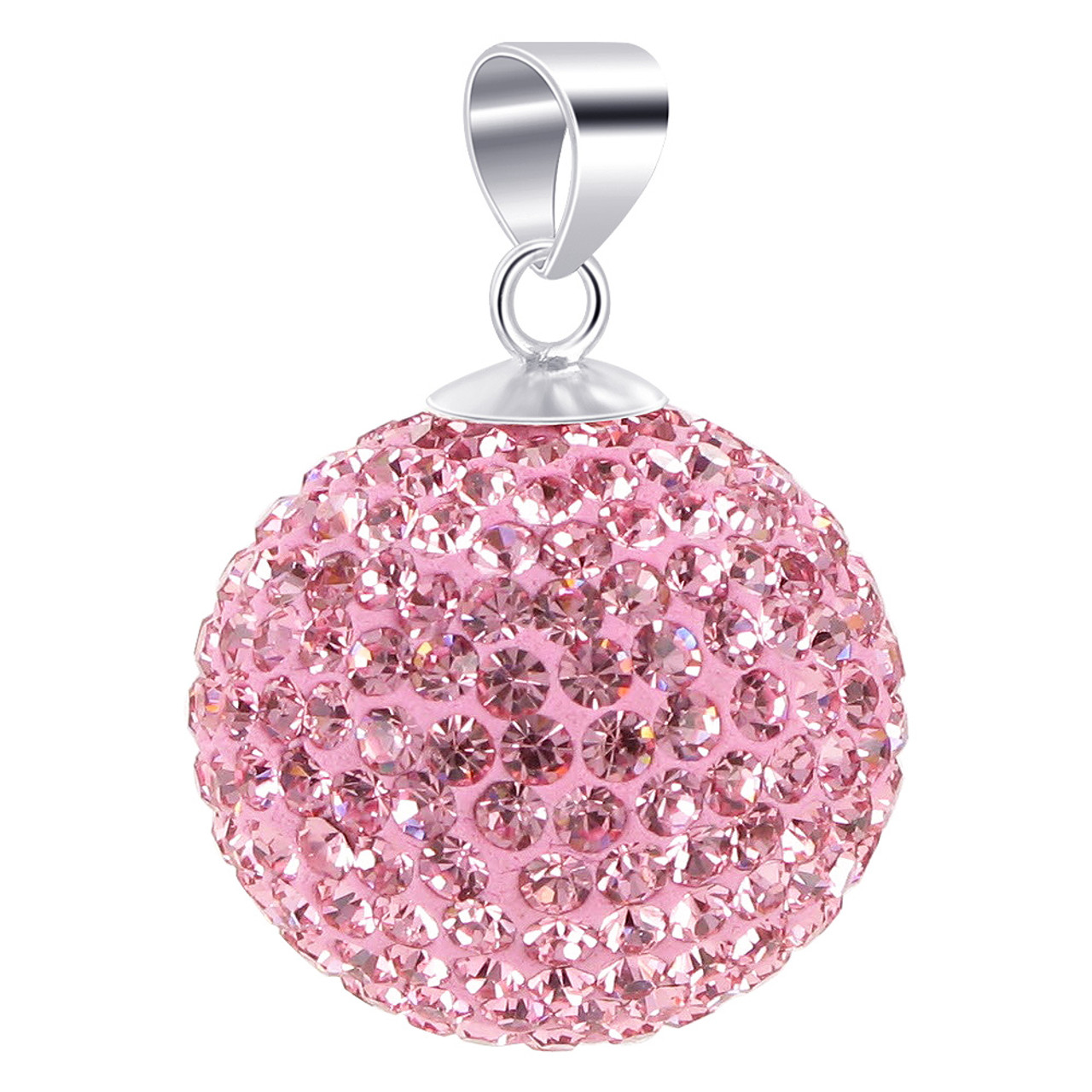 Round Pink Disco Ball Sterling Silver Pendant
