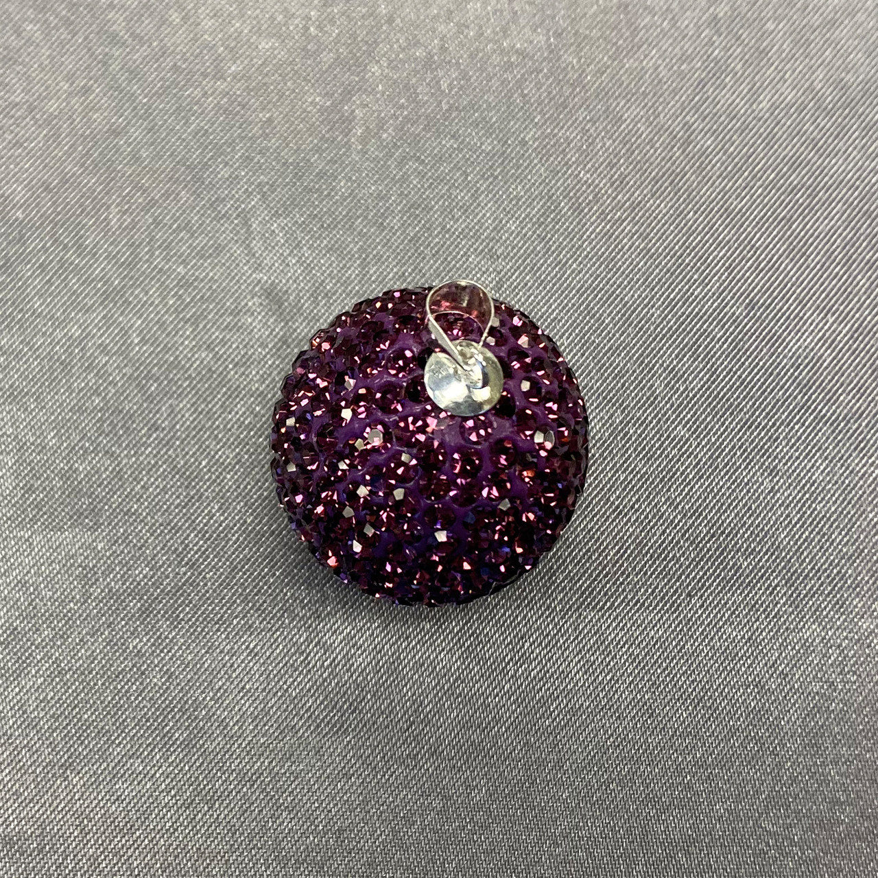 Round Purple Disco Ball Sterling Silver Pendant