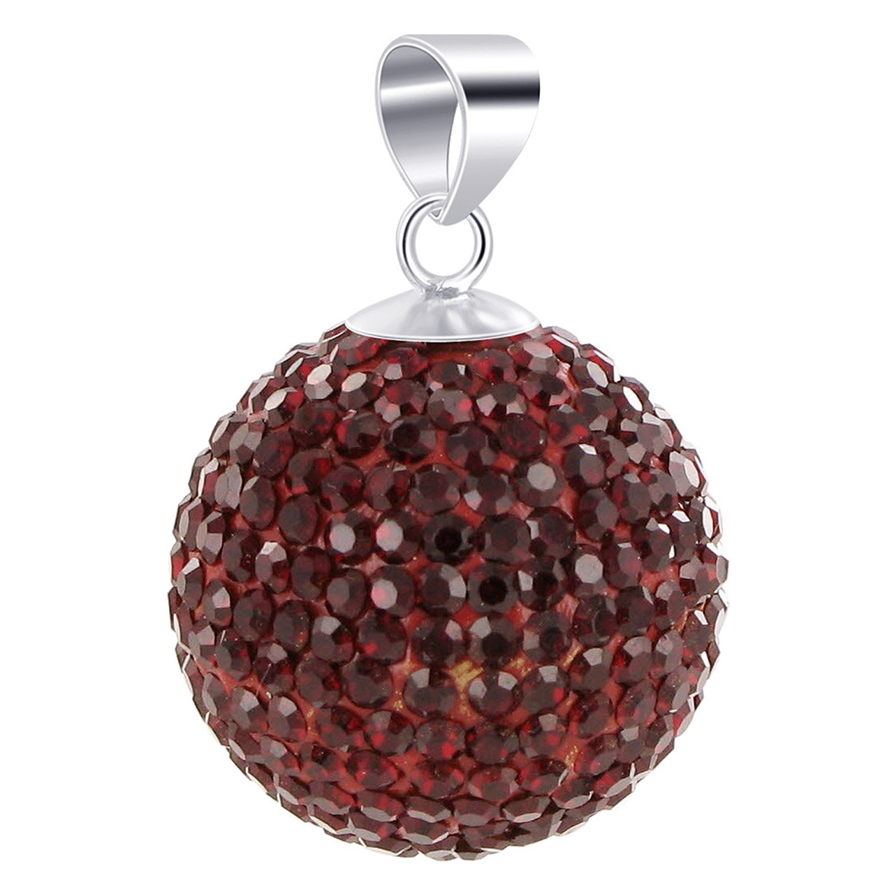 Round Red Garnet Disco Ball Sterling Silver Pendant