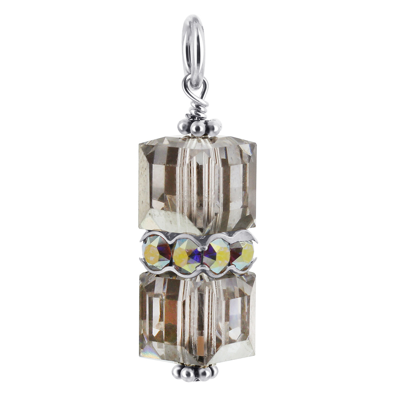 Cube Gray Crystal Sterling Silver Charm Pendant