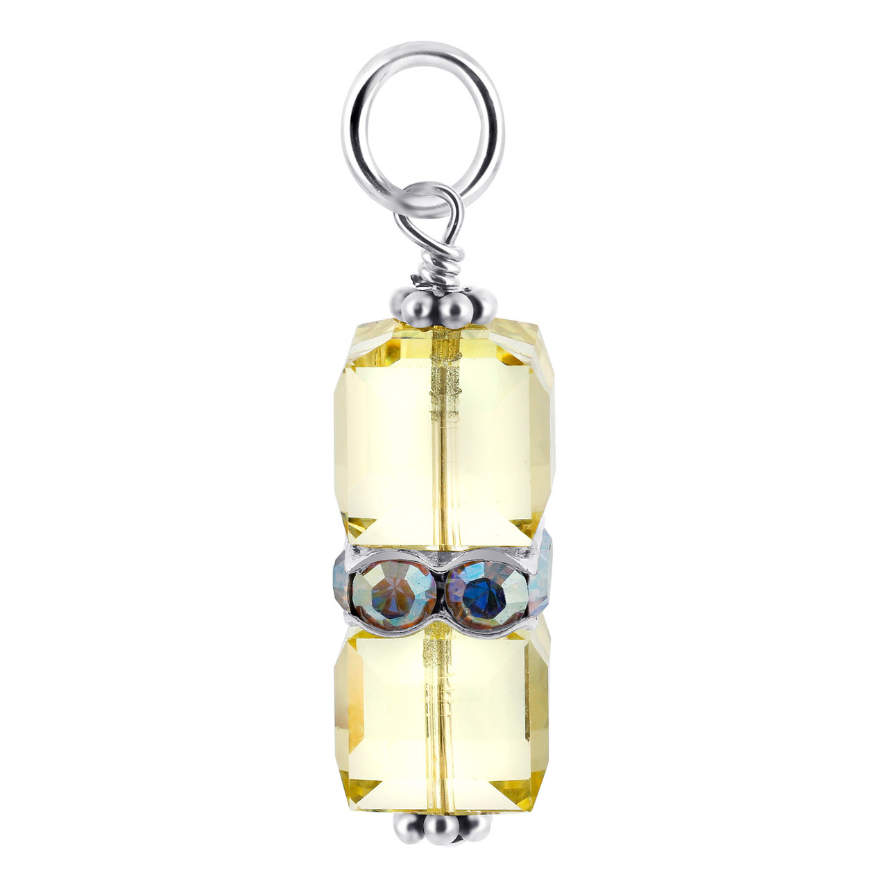 Cube Yellow Crystal Sterling Silver Charm Pendant