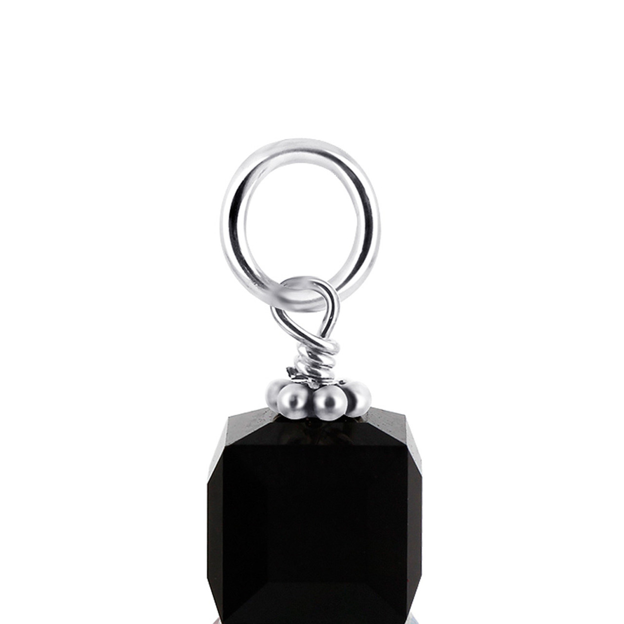 Cube Black Crystal Sterling Silver Charm Pendant