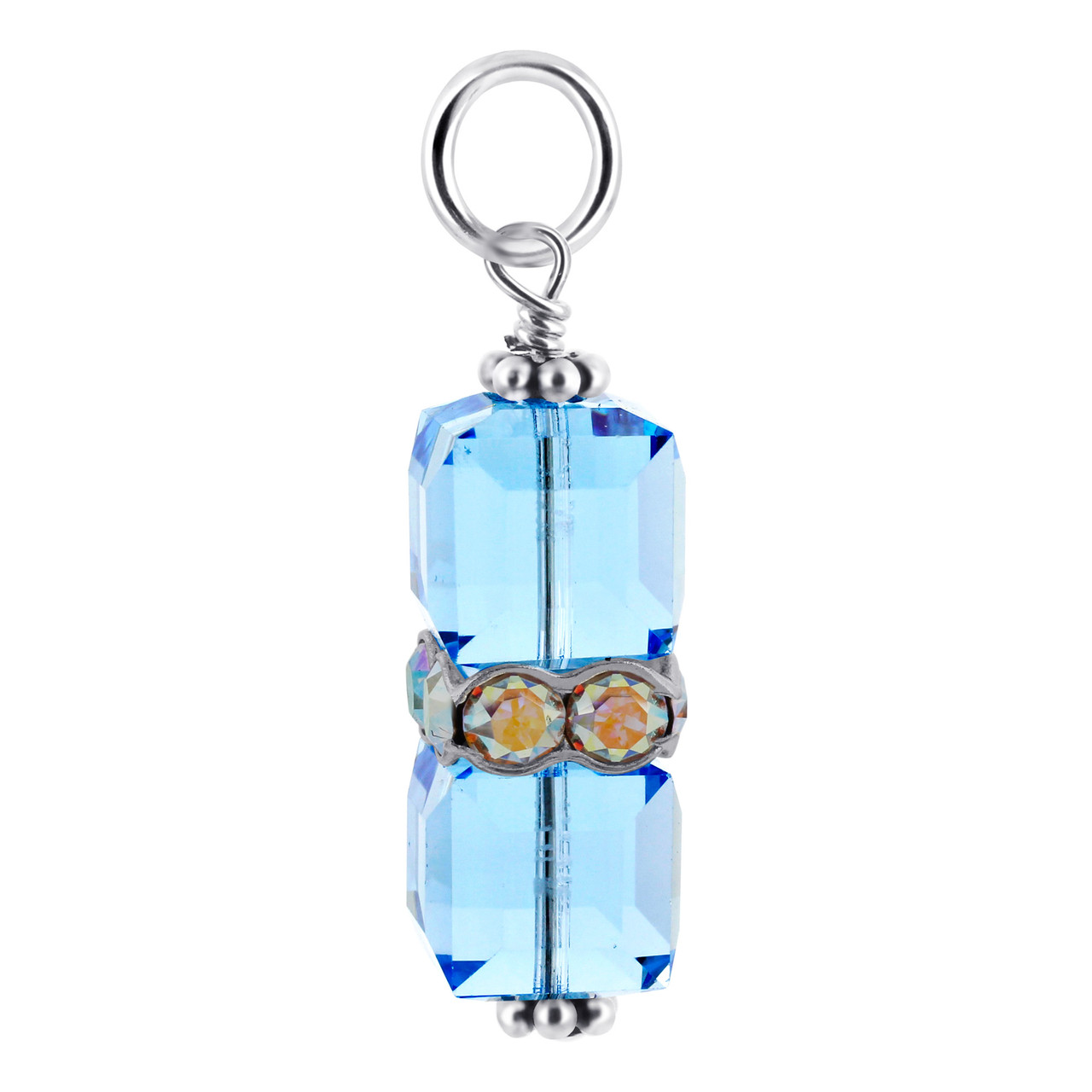 Cube Blue Crystal Sterling Silver Charm Pendant
