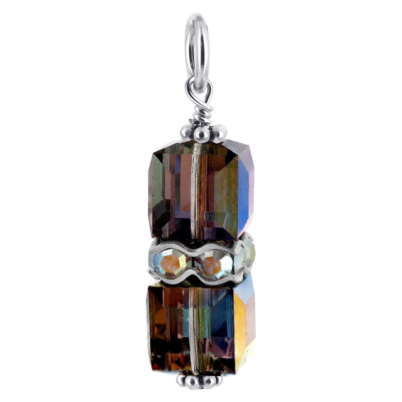 Cube  Vitrail Crystal Sterling Silver Charm Pendant