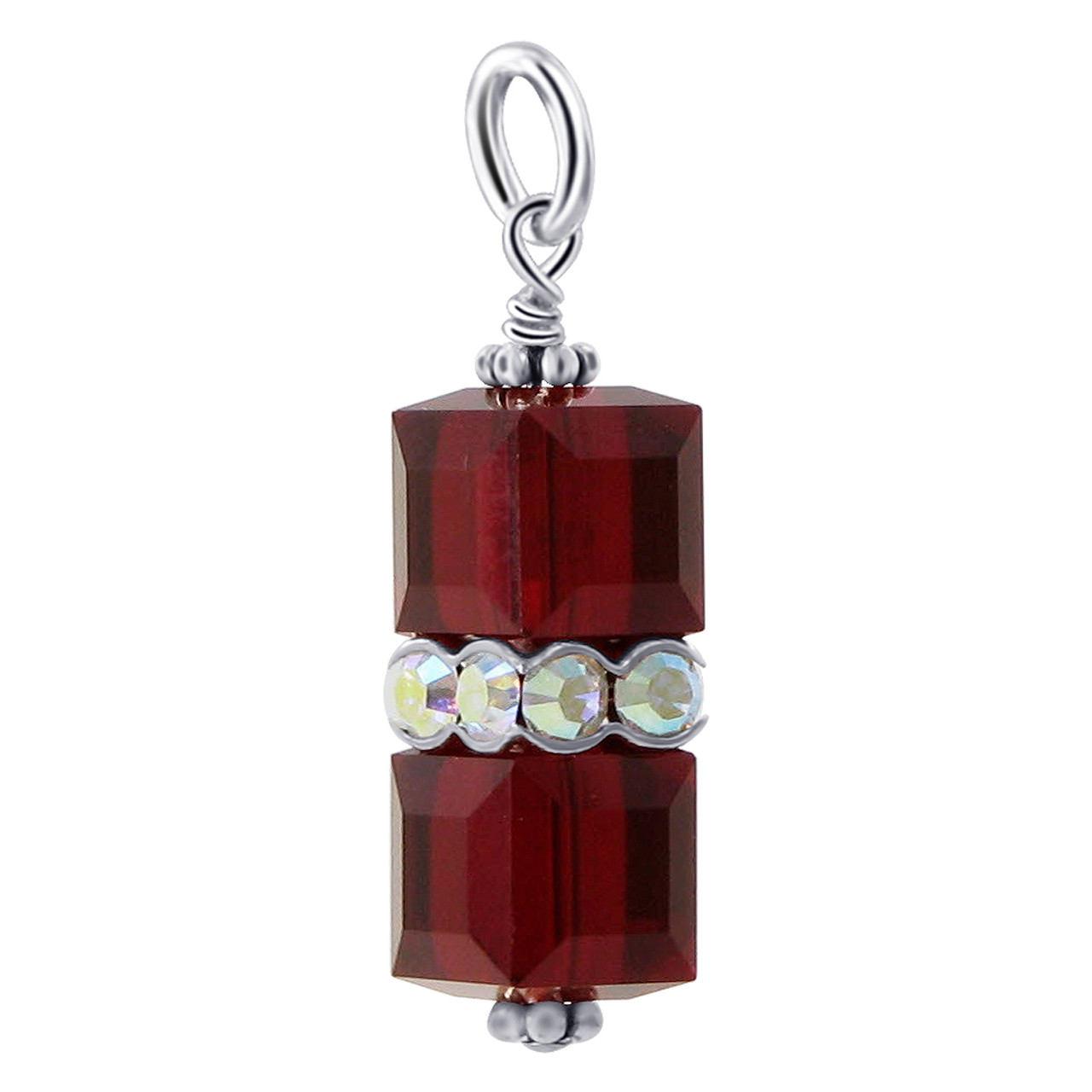 Cube Shape Red Crystal 925 Sterling Silver Charm Pendant
