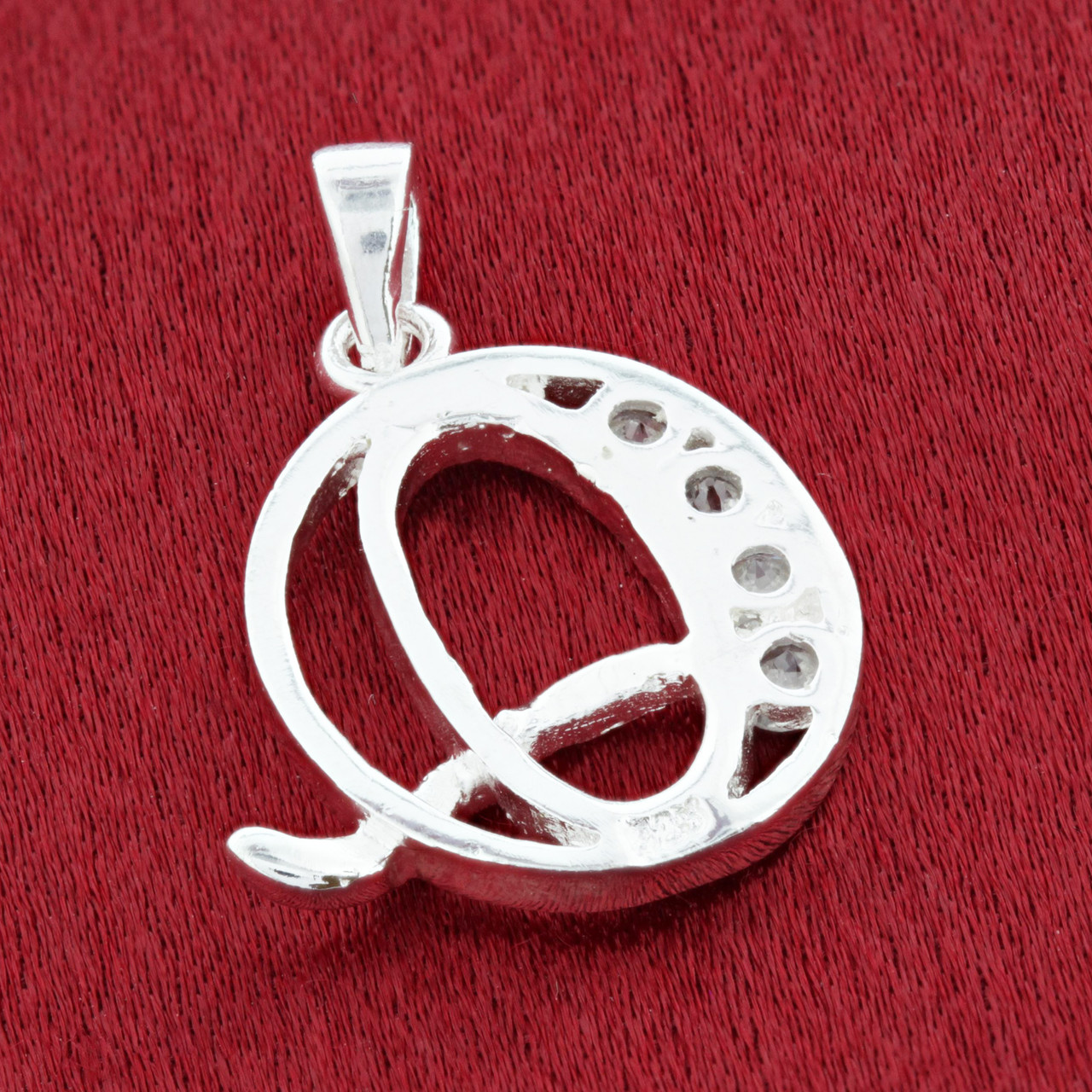 Round CZ Sterling Silver Initial Q Pendant