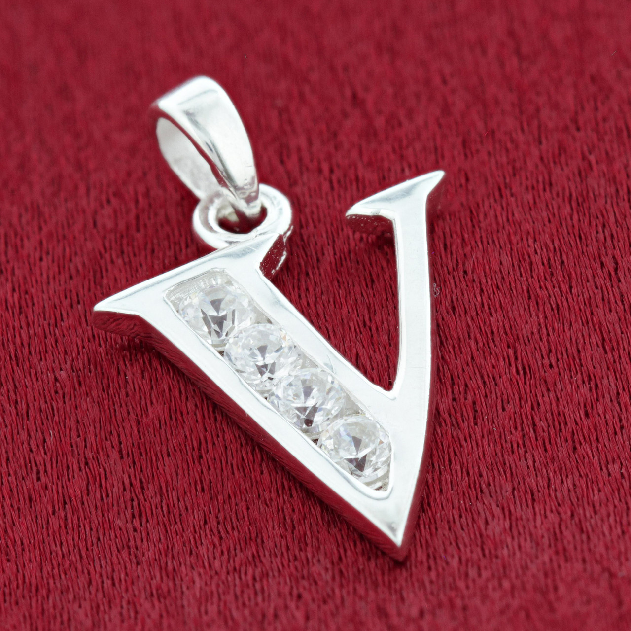 Round CZ Sterling Silver Initial V Pendant