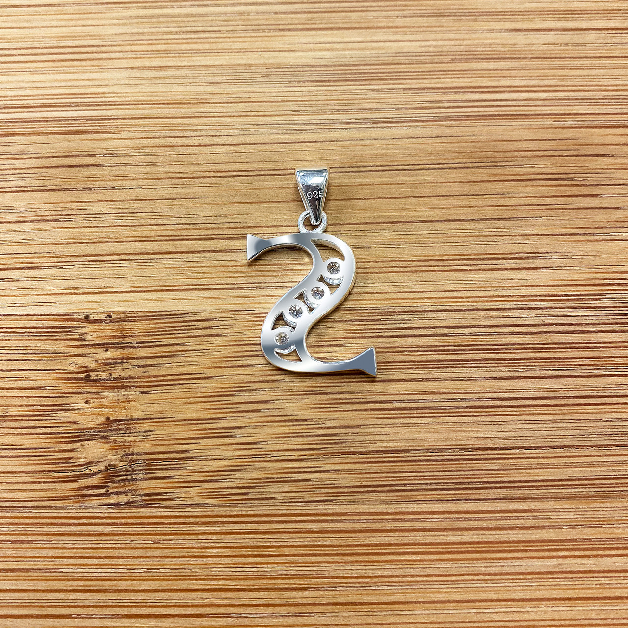 Round CZ Sterling Silver Initial S Pendant