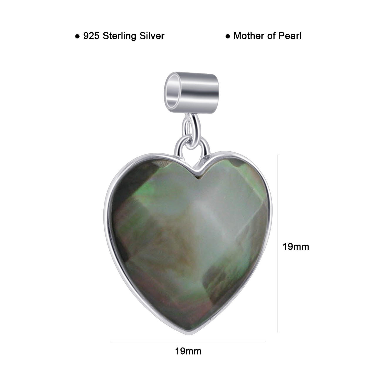 Black Mother of Pearl Heart Pendant