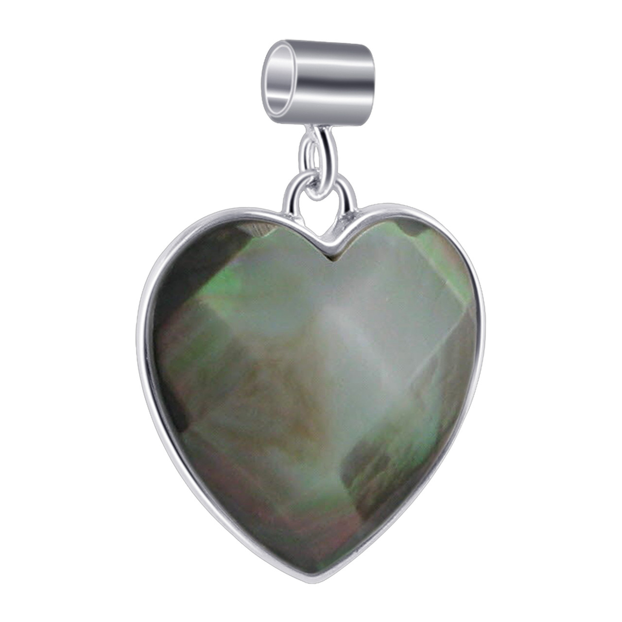Black Mother of Pearl Heart 925 Silver Pendant