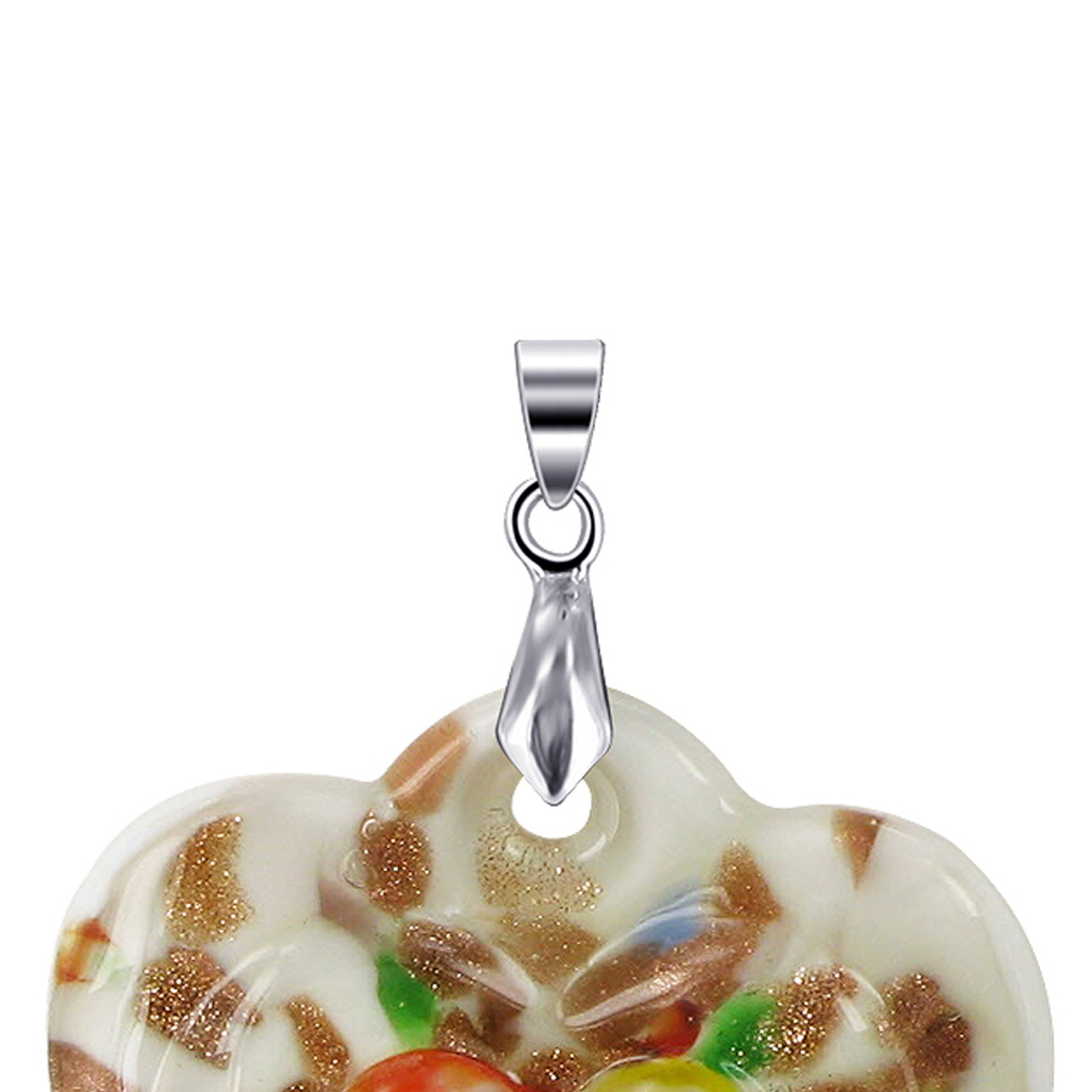 Floral Designed Heart Stainless Steel Bail Pendant