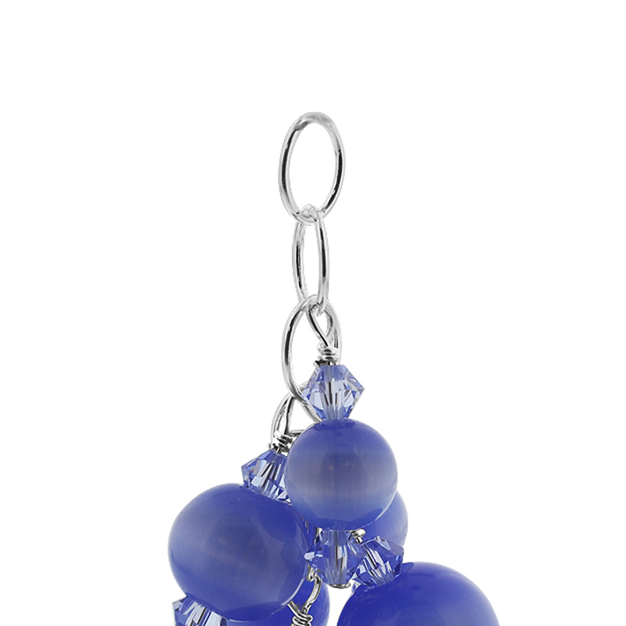 Blue Cats Eye Crystal Sterling Silver Charm Pendant