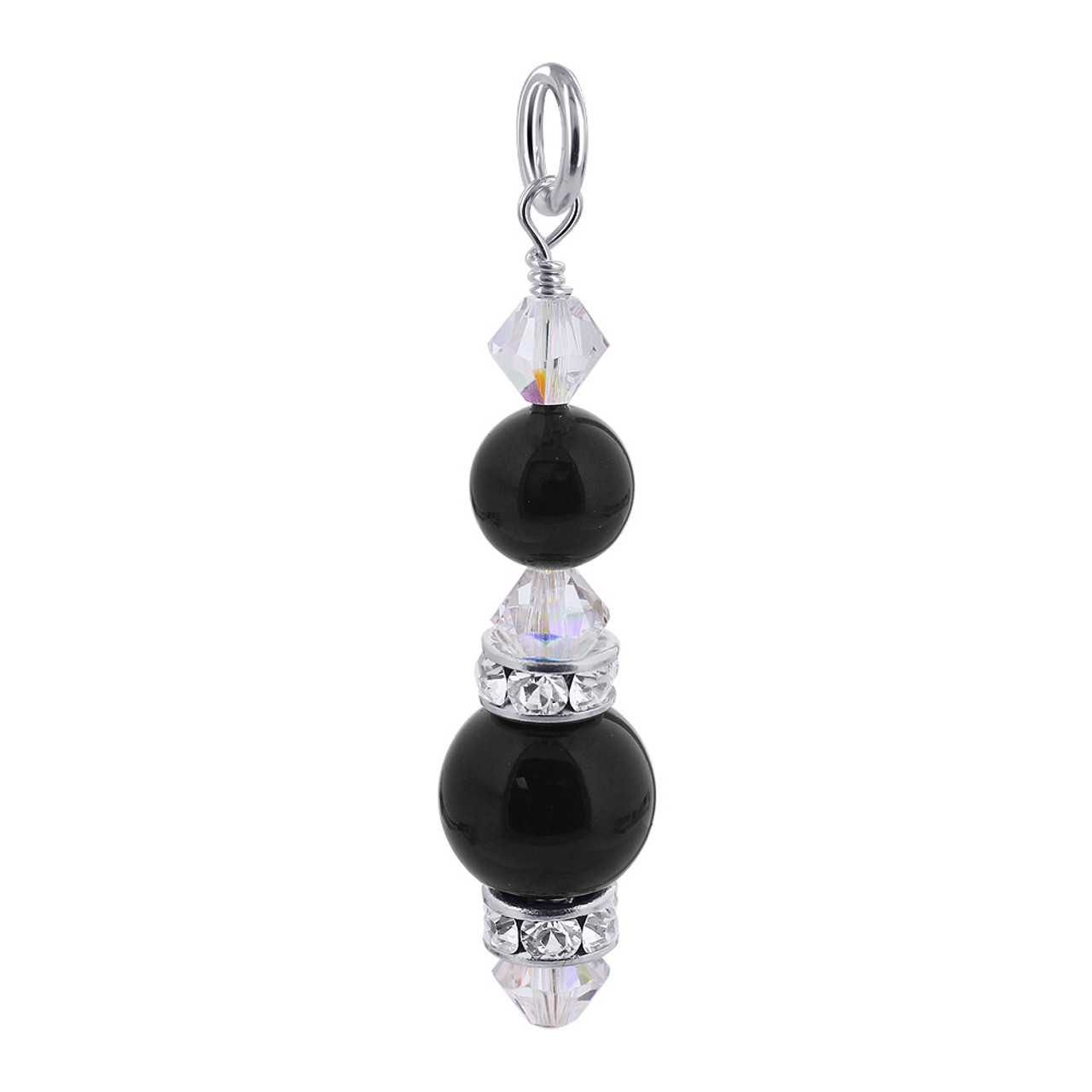 Black Simulated Pearl Crystal 925 Silver Charm Pendant