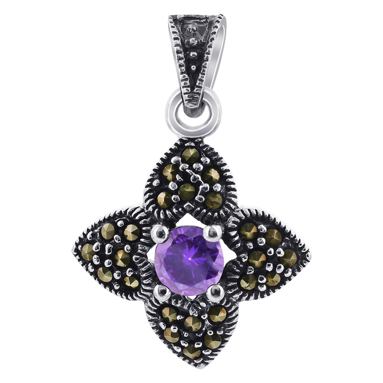Amethyst CZ Sterling Silver Pendant Marcasite Flower Accents