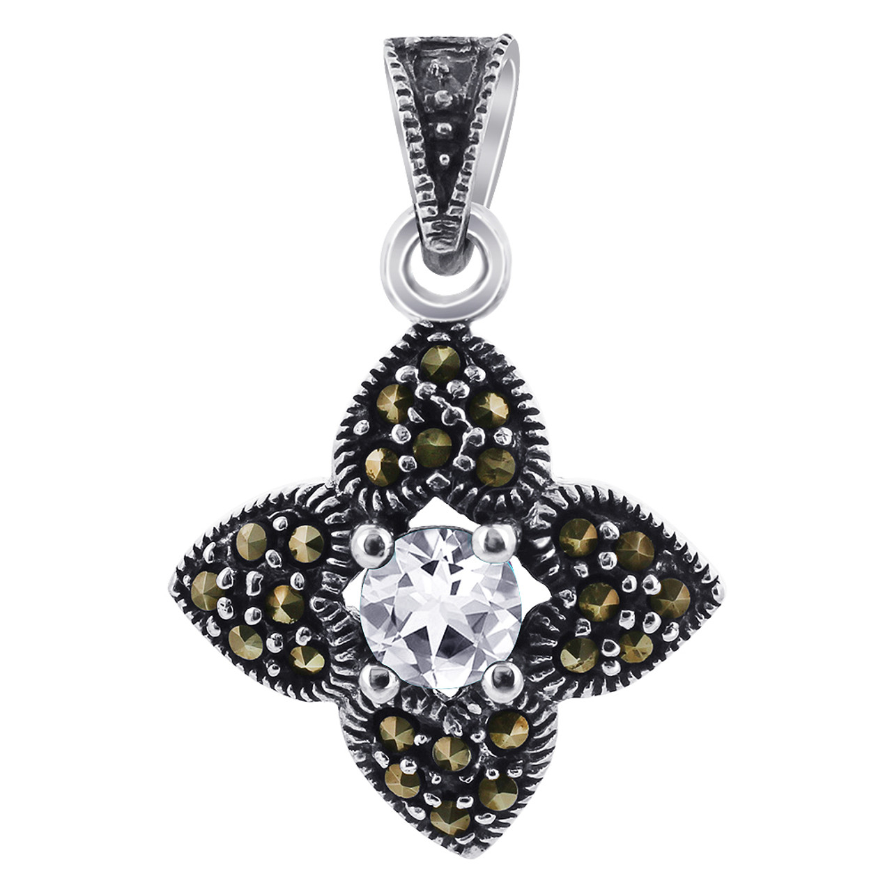 Clear 925 Silver Pendant  Marcasite Flower Accents