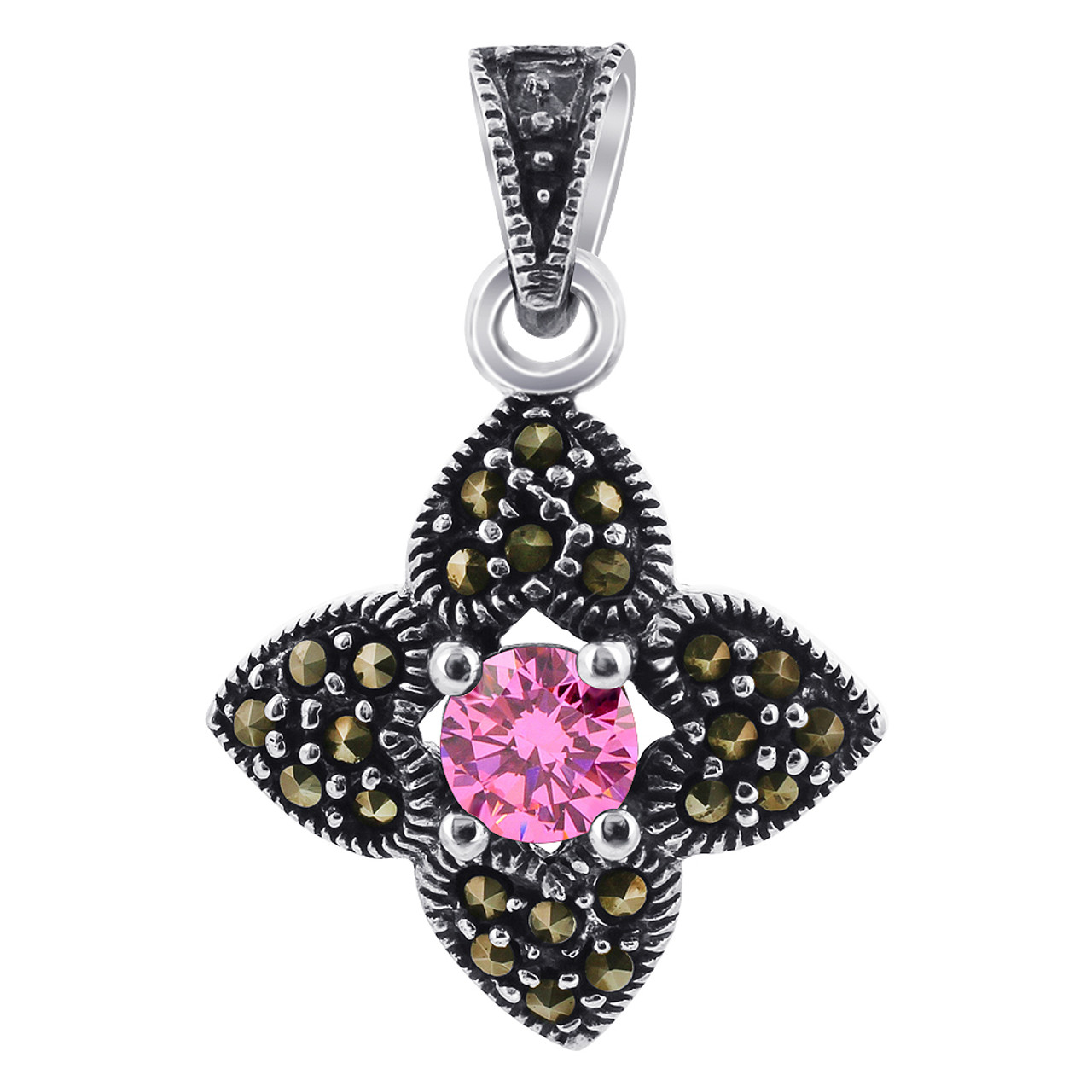 Pink ice CZ 925 Silver Pendant Marcasite Flower Accents