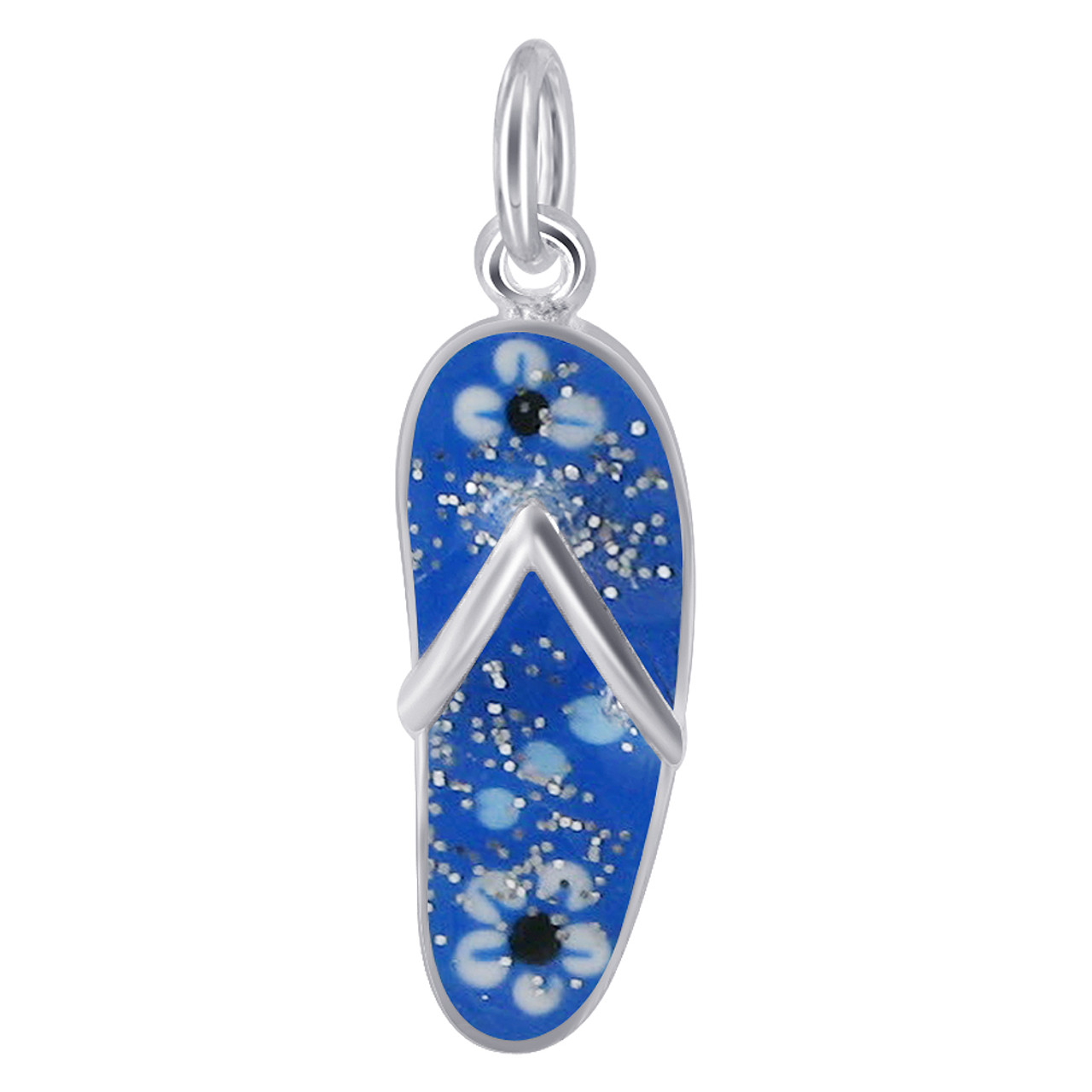 925 Sterling Silver Blue with Floral Flip Flop Charm Pendant