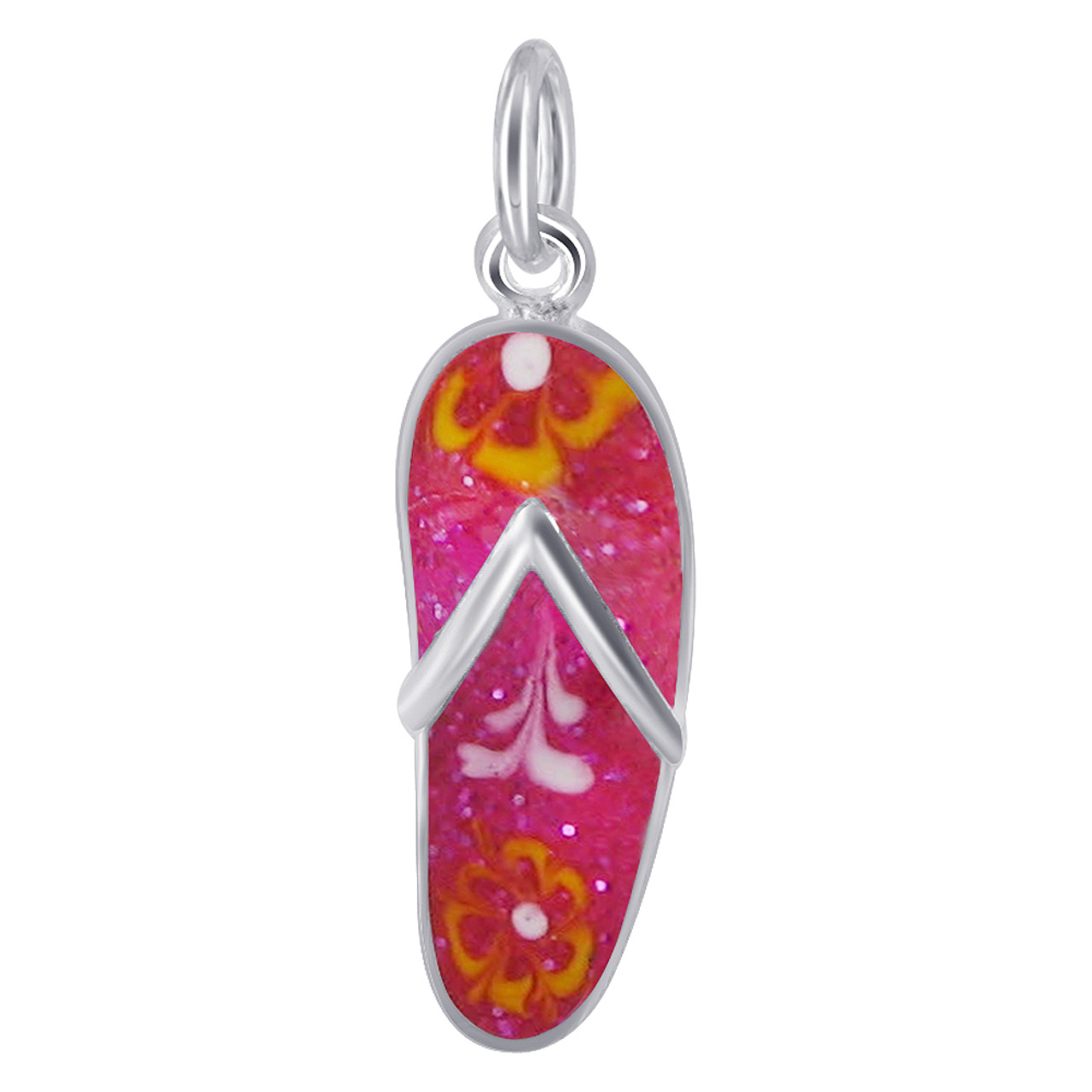 925 Sterling Silver Fuchsia Flip Flop Charm Pendant