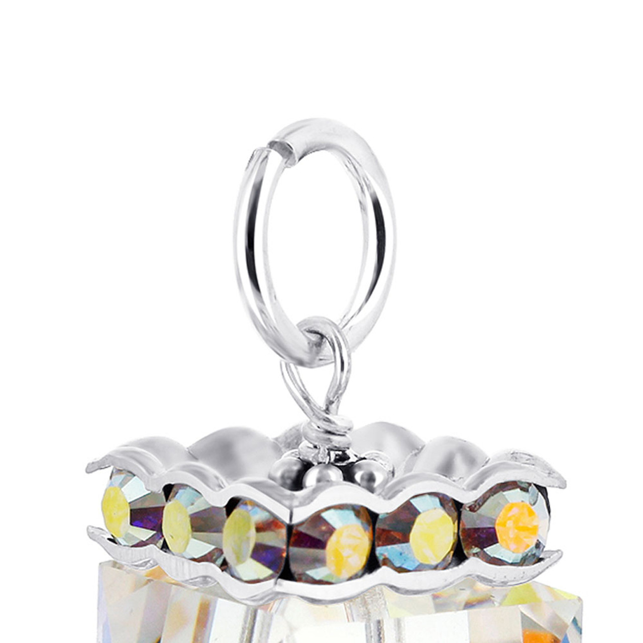 Cube Clear AB Crystal Sterling Silver Charm Pendant