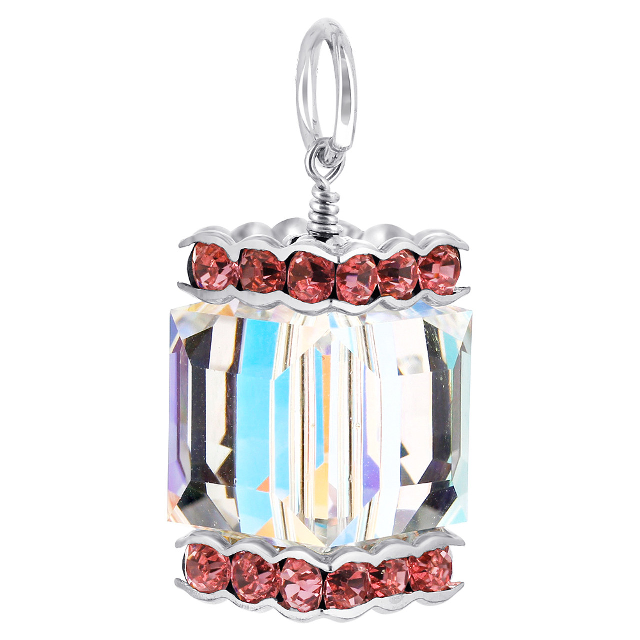 Cube Clear AB and Pink Crystal Sterling Silver Charm Pendant