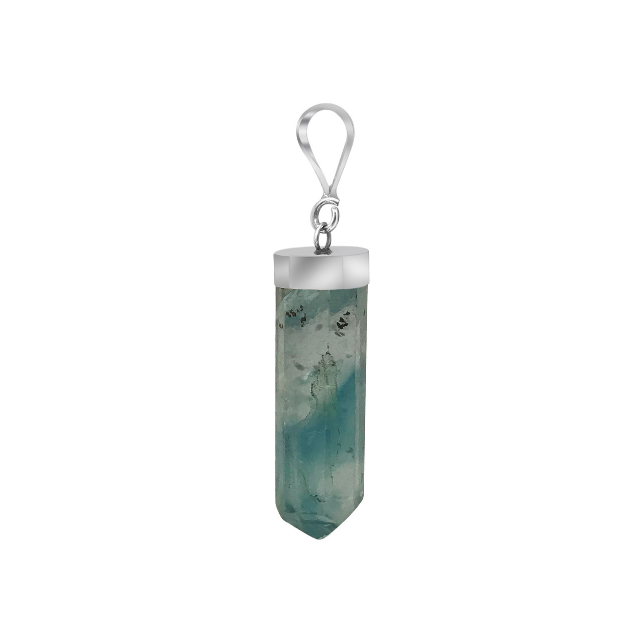 Natural Blue Fluorite Crystal 925 Silver Pendant