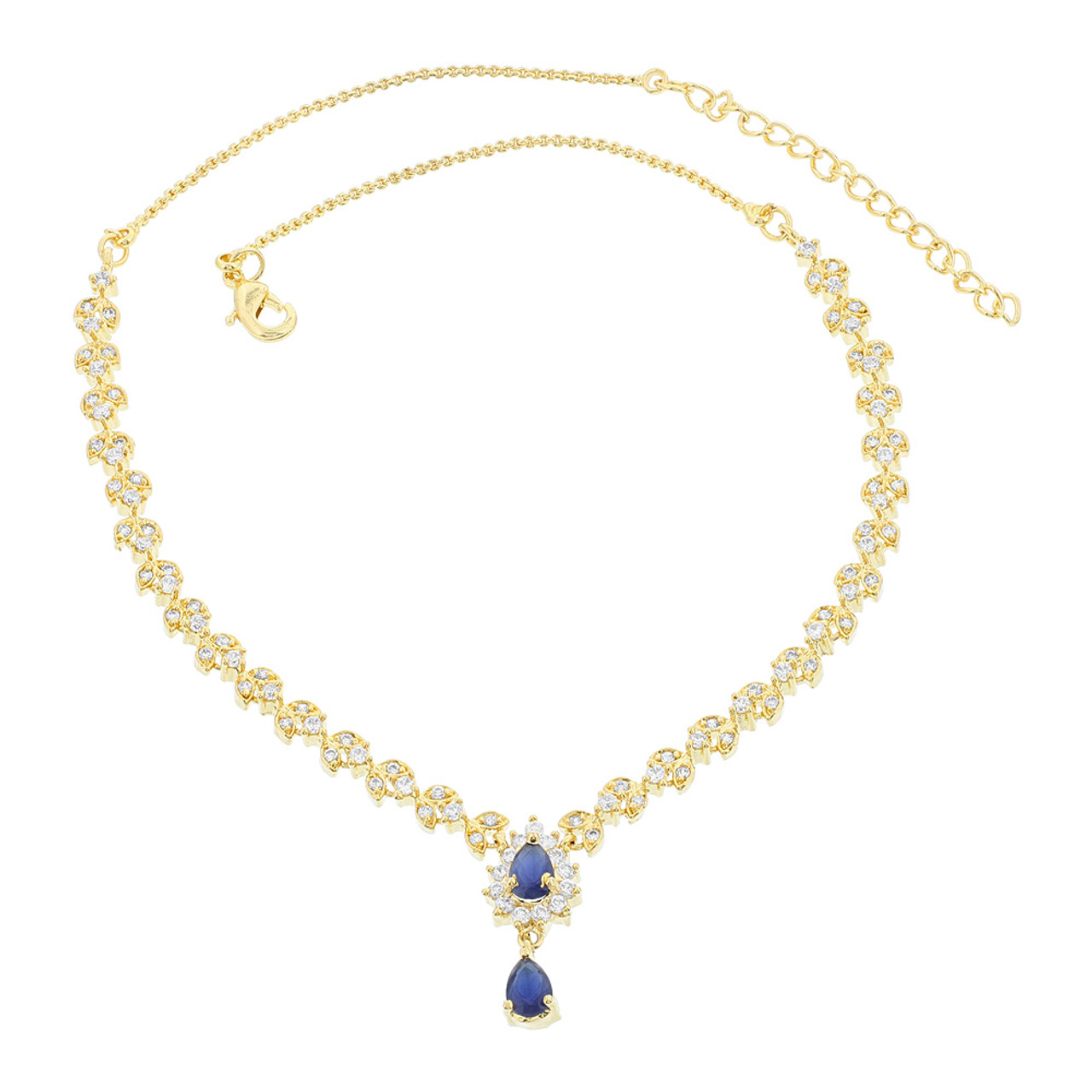 Gold Plated Simulated Blue Sapphire Stone Necklace Earrings Set