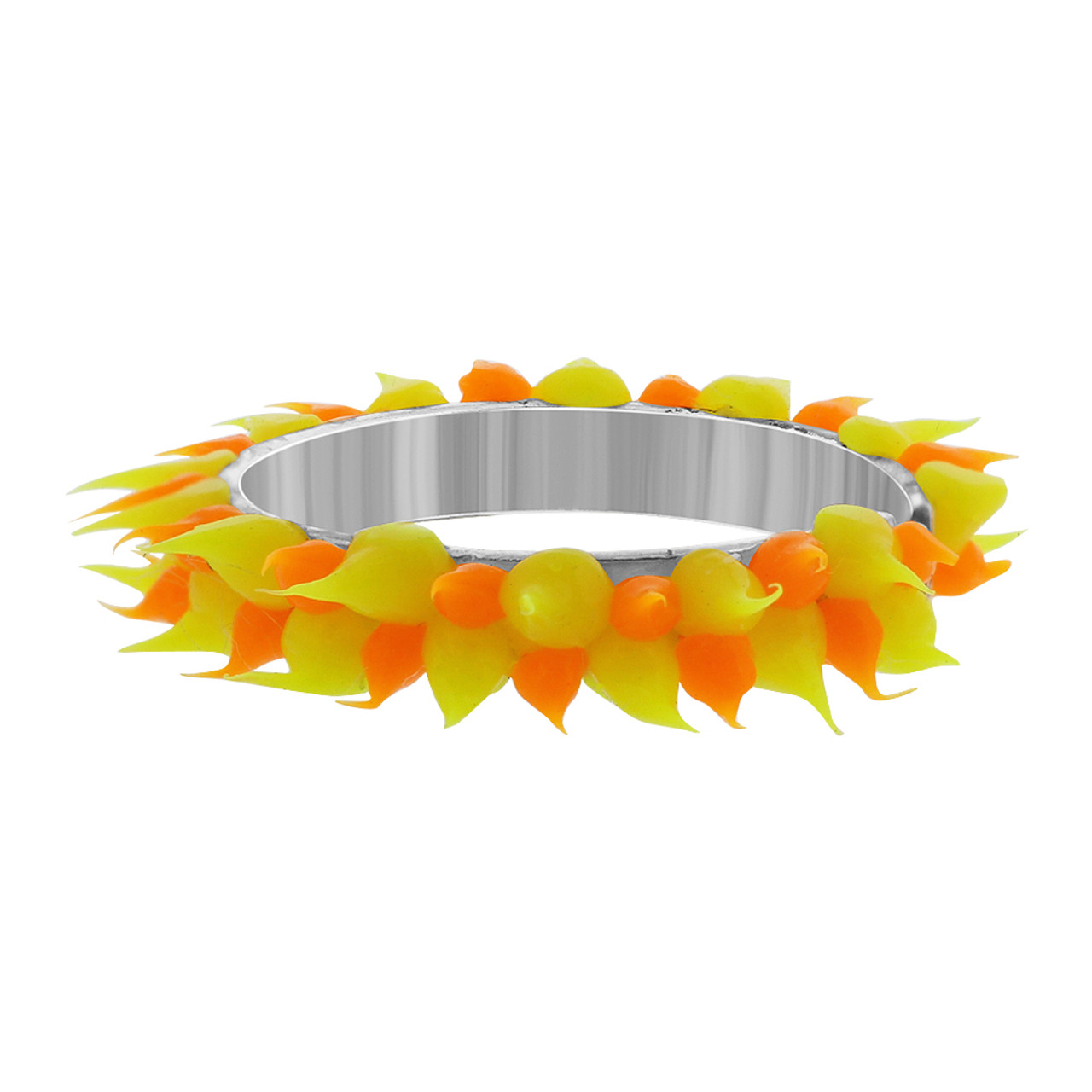 Sterling Silver Orange and Yellow Rubber Toe Ring