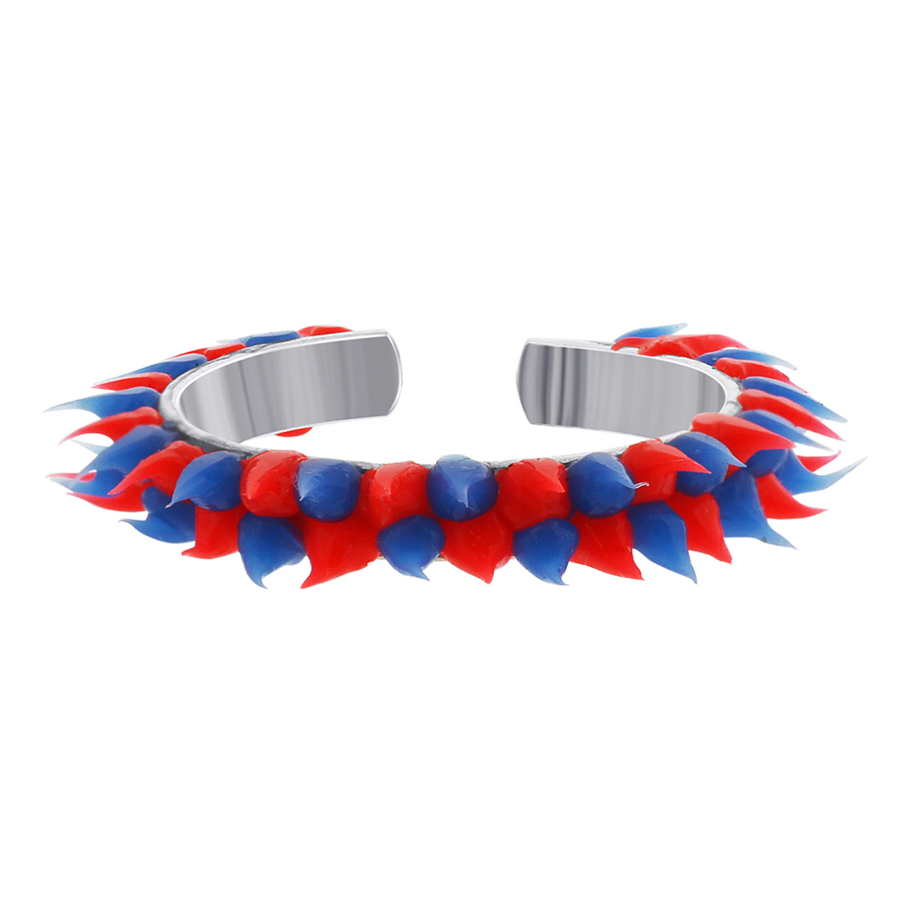 Sterling Silver Red and Blue Rubber Toe Ring