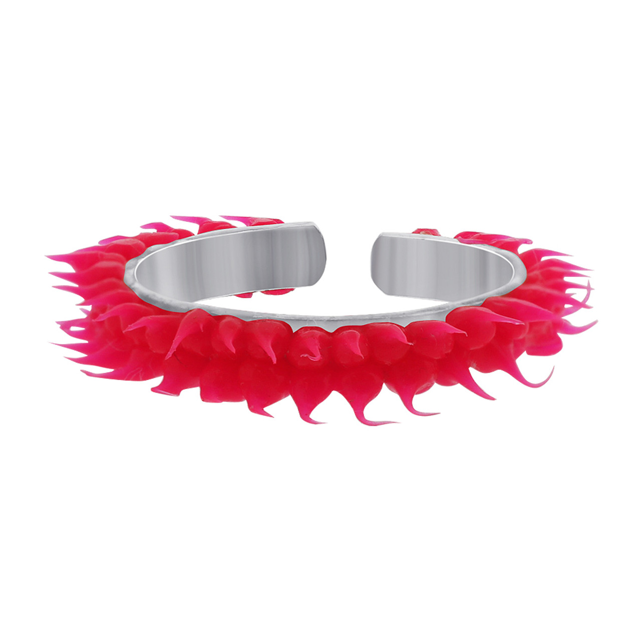 Sterling Silver Pink Rubber Toe Ring