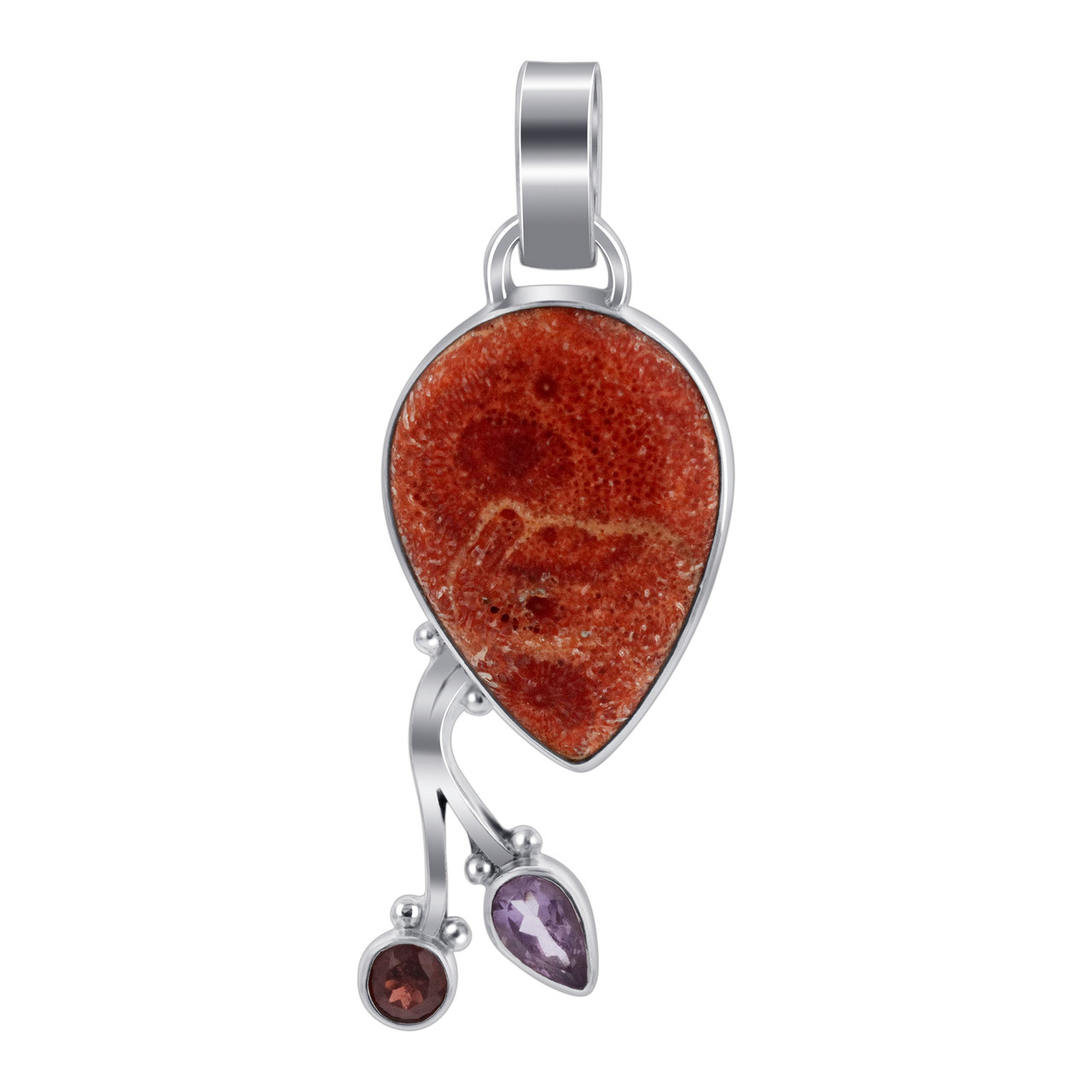 Coral with Garnet and Amethyst  Pendant