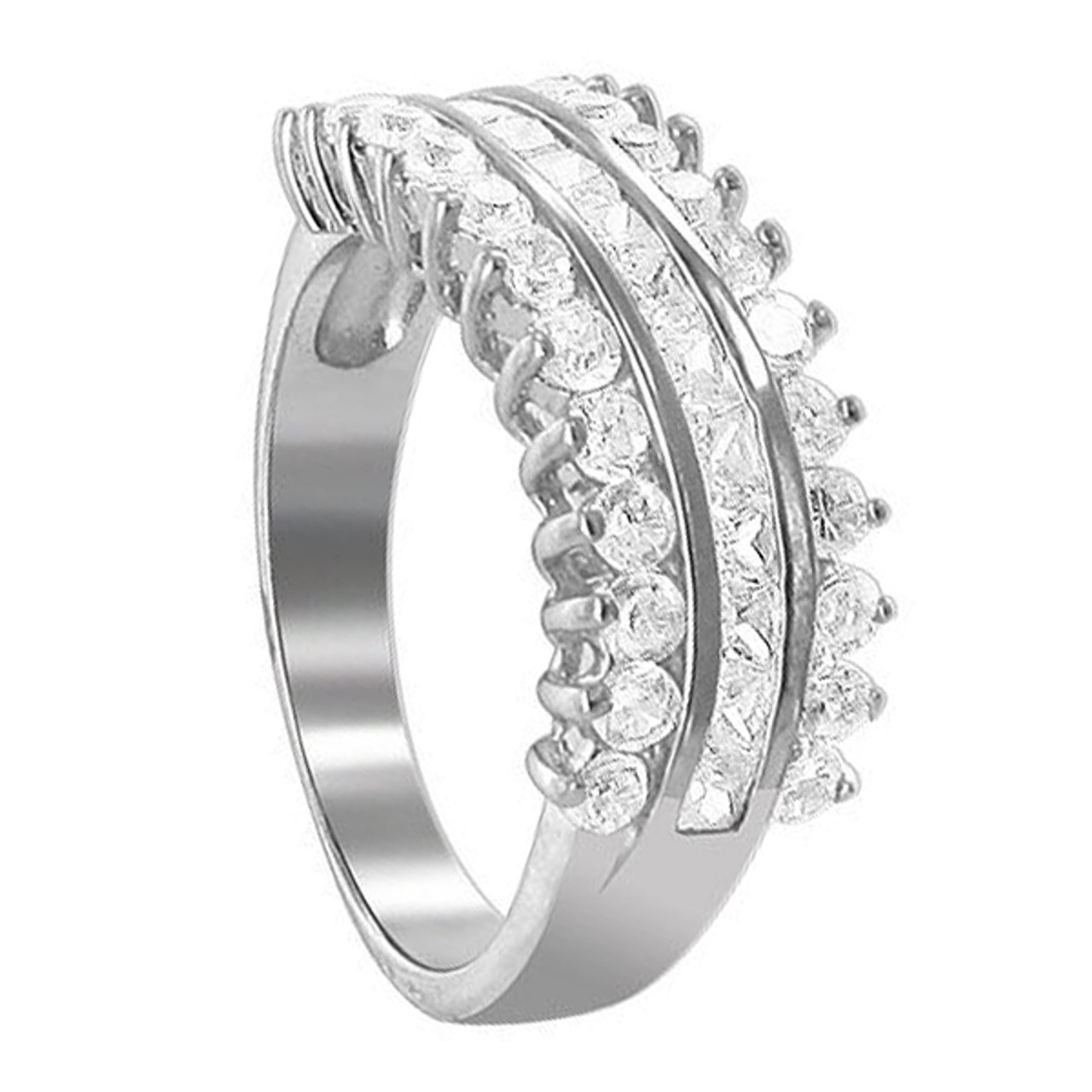 Princess Kylie Clear Cubic Zirconia Cross Designer Ring Rhodium Plated Sterling Silver